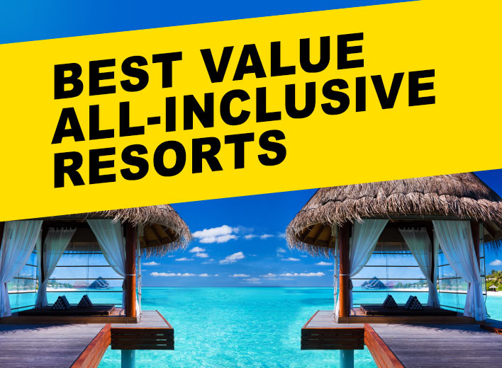 A typical over-water bungalows for best value all-inclusive resorts article.